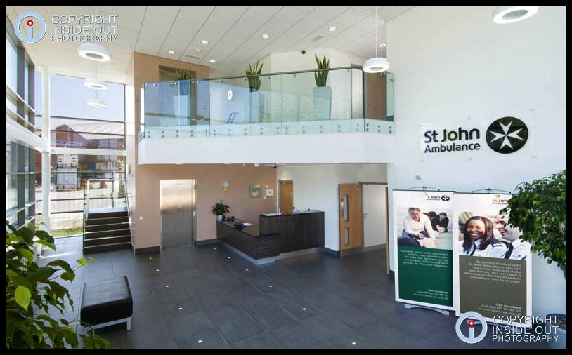 Reception area of St John Ambulance NW HQ in Stockport.