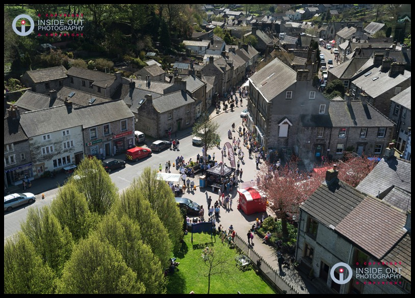 Semi-aerial view of Tideswell food festival 2018